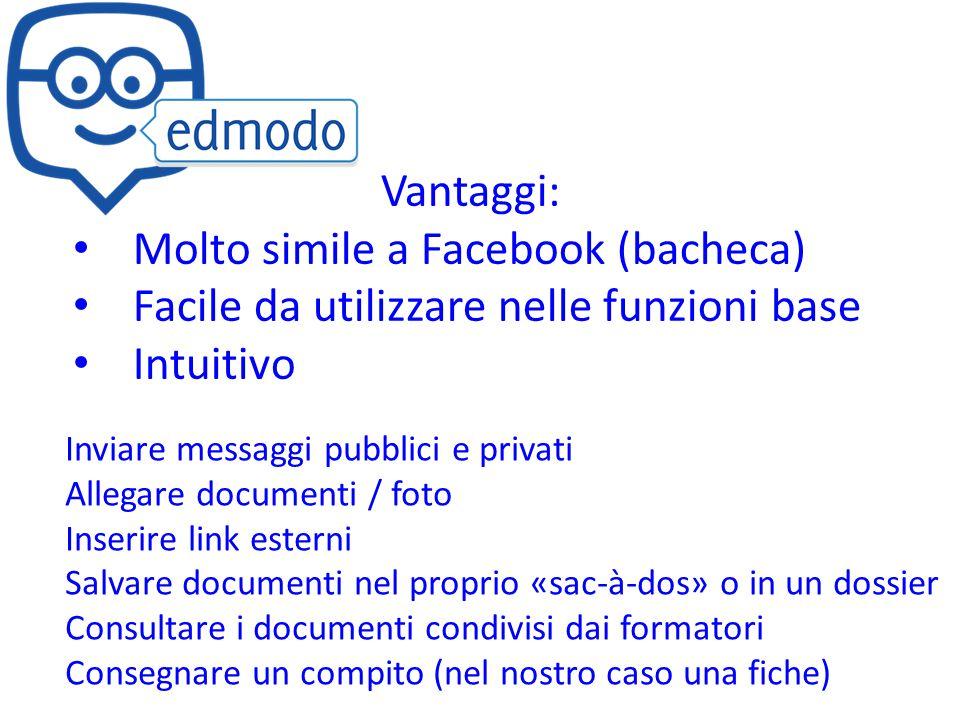 Vantaggi: Molto simile a Facebook (bacheca) Facile da utilizzare nelle funzioni base Intuitivo Inviare messaggi pubblici e privati Allegare documenti