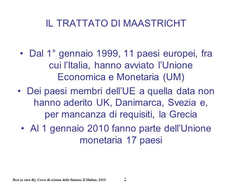 Bosi (a cura di), Corso di scienza delle finanze, Il Mulino, 2010 IL TRATTATO DI MAASTRICHT Dal 1° gennaio 1999, 11 paesi europei, fra cui l'Italia, h