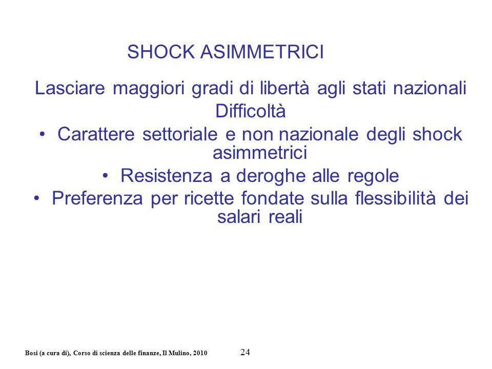 Bosi (a cura di), Corso di scienza delle finanze, Il Mulino, 2010 SHOCK ASIMMETRICI Lasciare maggiori gradi di libertà agli stati nazionali Difficoltà