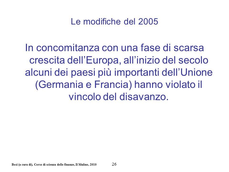 Bosi (a cura di), Corso di scienza delle finanze, Il Mulino, 2010 Le modifiche del 2005 In concomitanza con una fase di scarsa crescita dell'Europa, a