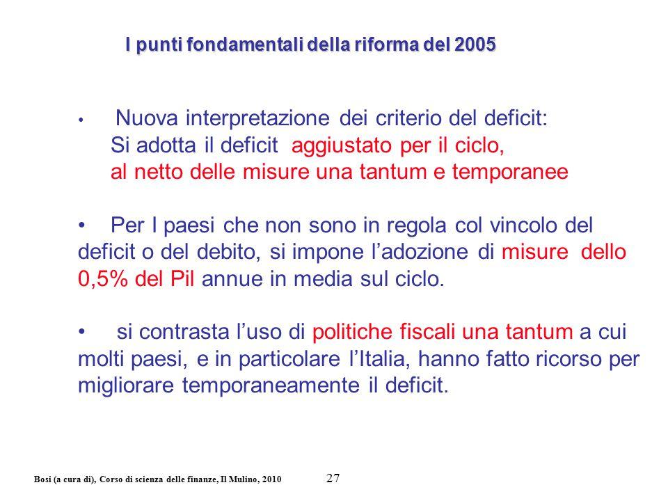 Bosi (a cura di), Corso di scienza delle finanze, Il Mulino, 2010 Nuova interpretazione dei criterio del deficit: Si adotta il deficit aggiustato per