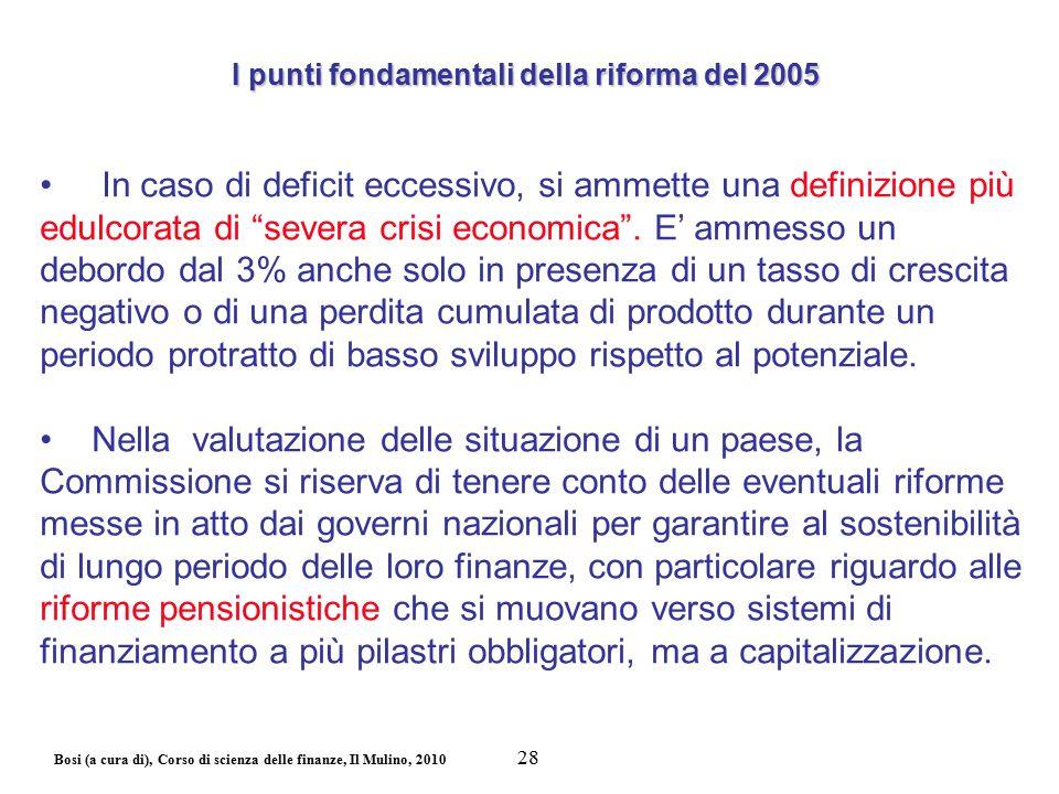 """Bosi (a cura di), Corso di scienza delle finanze, Il Mulino, 2010 In caso di deficit eccessivo, si ammette una definizione più edulcorata di """"severa c"""