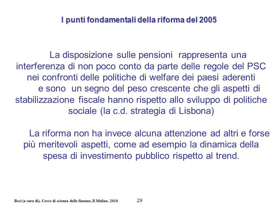 Bosi (a cura di), Corso di scienza delle finanze, Il Mulino, 2010 La disposizione sulle pensioni rappresenta una interferenza di non poco conto da par