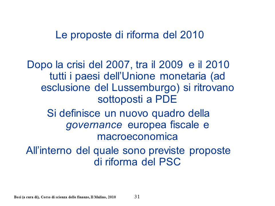 Bosi (a cura di), Corso di scienza delle finanze, Il Mulino, 2010 Le proposte di riforma del 2010 Dopo la crisi del 2007, tra il 2009 e il 2010 tutti