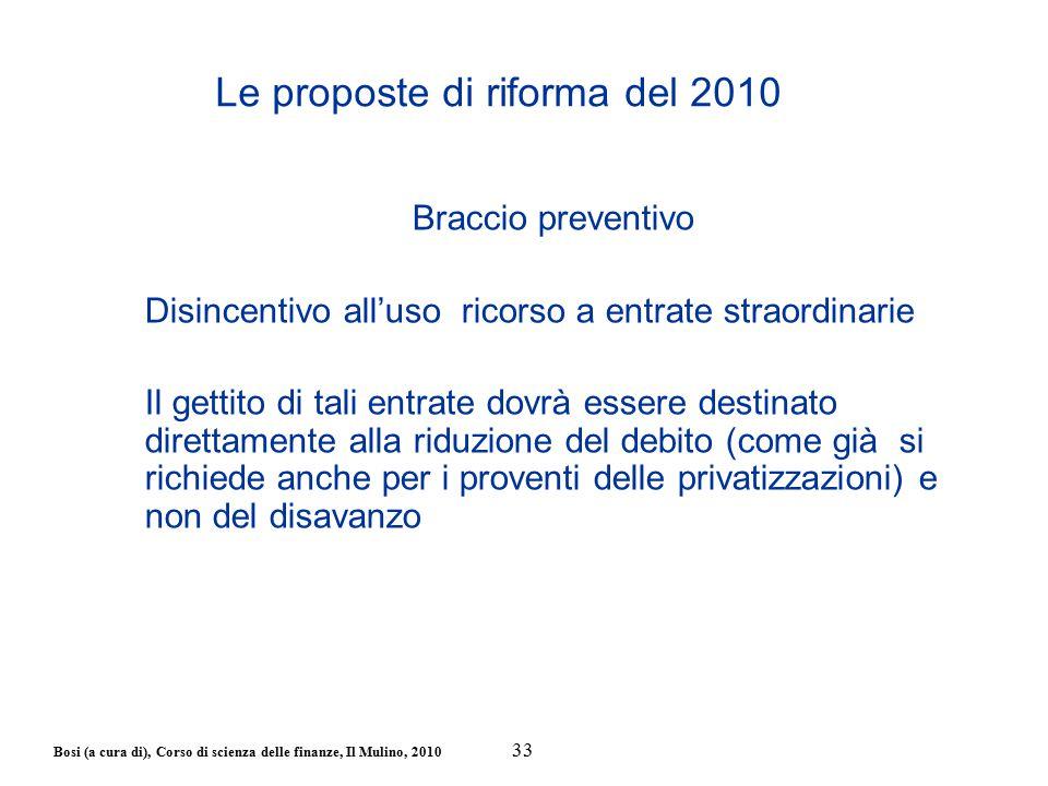Bosi (a cura di), Corso di scienza delle finanze, Il Mulino, 2010 Braccio preventivo Disincentivo all'uso ricorso a entrate straordinarie Il gettito d