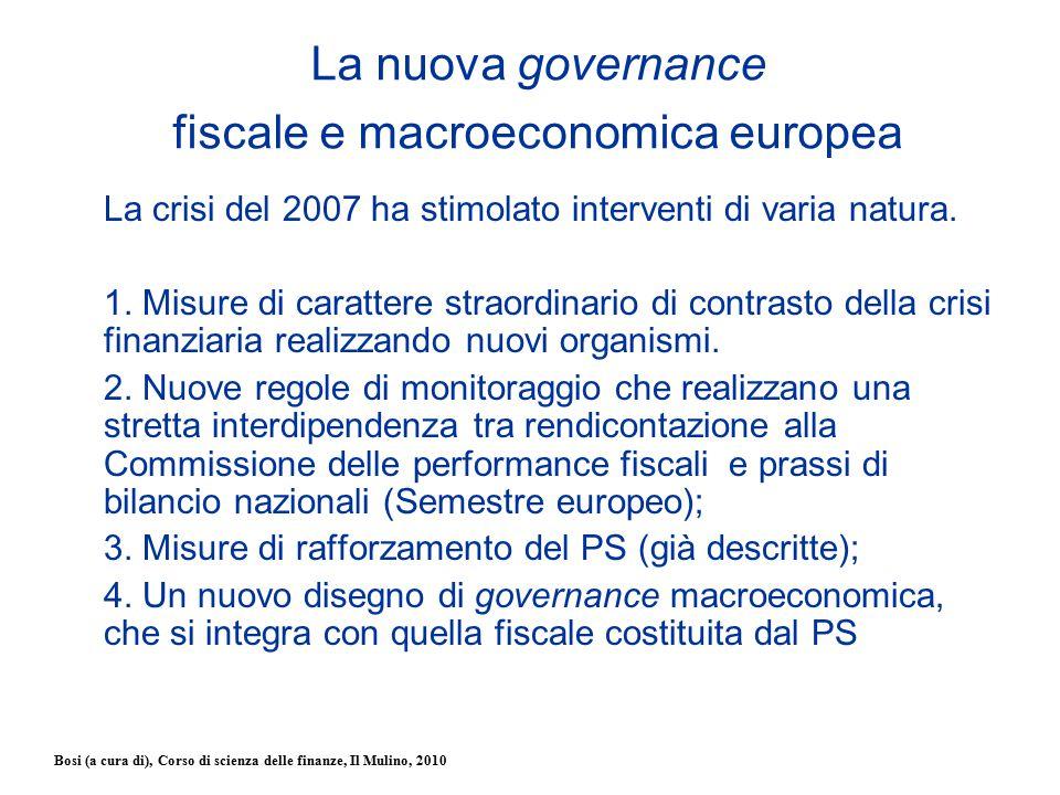 Bosi (a cura di), Corso di scienza delle finanze, Il Mulino, 2010 La nuova governance fiscale e macroeconomica europea La crisi del 2007 ha stimolato