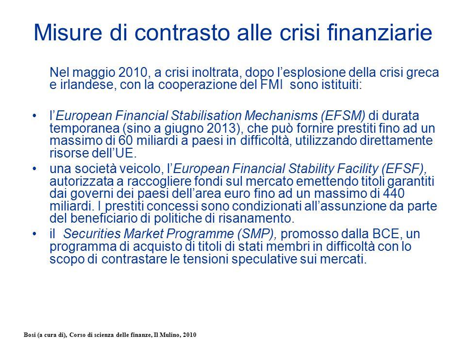 Bosi (a cura di), Corso di scienza delle finanze, Il Mulino, 2010 Misure di contrasto alle crisi finanziarie Nel maggio 2010, a crisi inoltrata, dopo