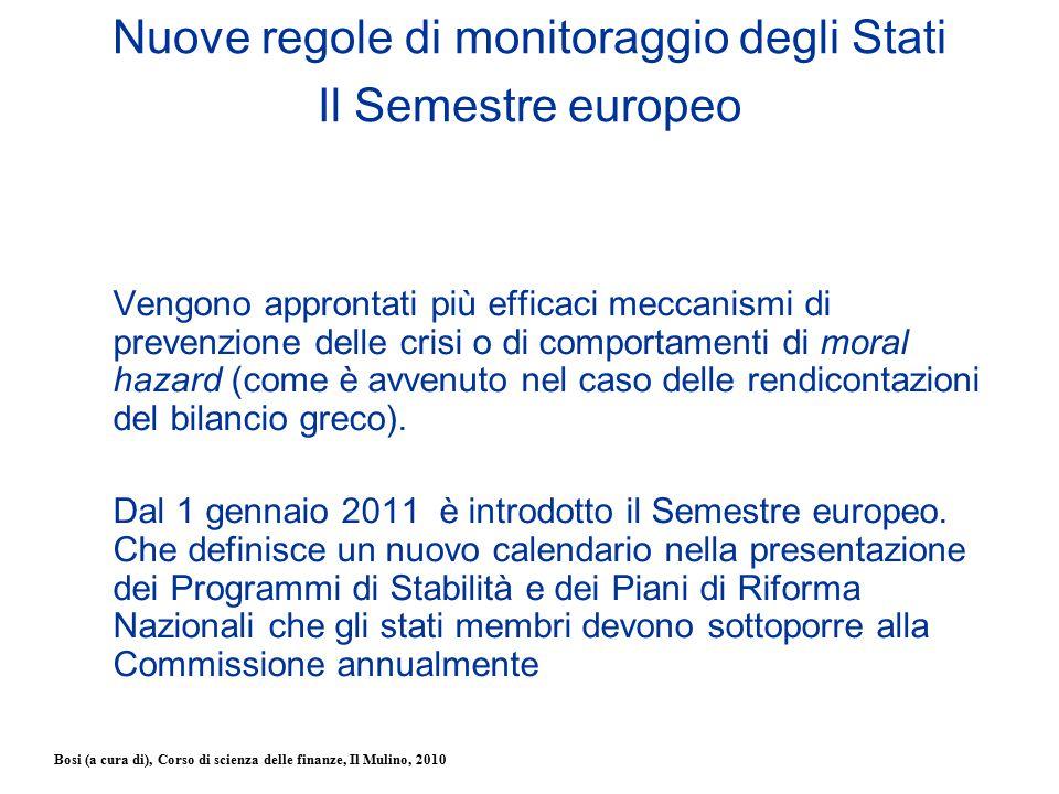 Bosi (a cura di), Corso di scienza delle finanze, Il Mulino, 2010 Nuove regole di monitoraggio degli Stati Il Semestre europeo Vengono approntati più