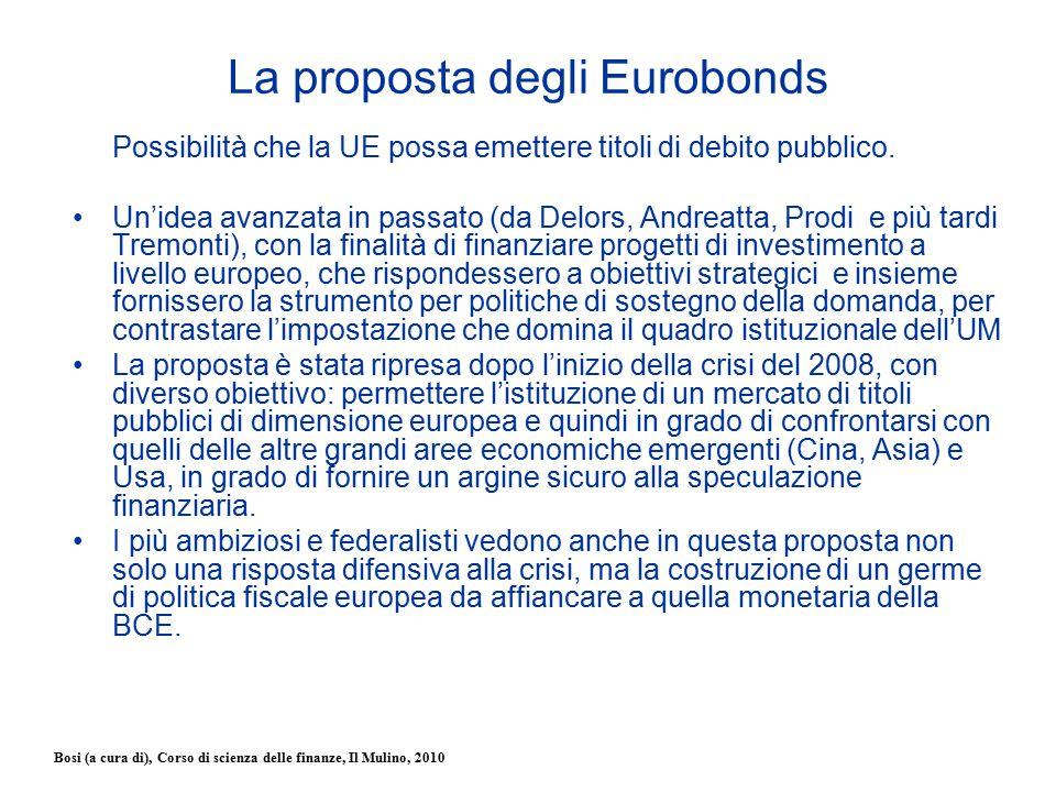 Bosi (a cura di), Corso di scienza delle finanze, Il Mulino, 2010 La proposta degli Eurobonds Possibilità che la UE possa emettere titoli di debito pu