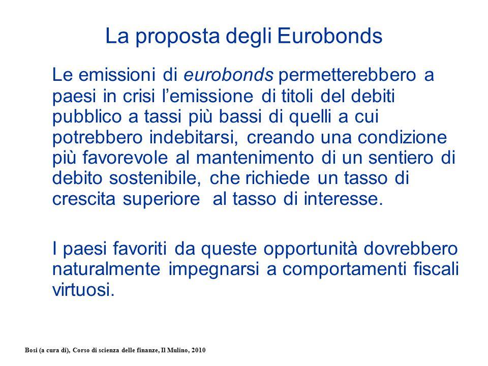 Bosi (a cura di), Corso di scienza delle finanze, Il Mulino, 2010 La proposta degli Eurobonds Le emissioni di eurobonds permetterebbero a paesi in cri