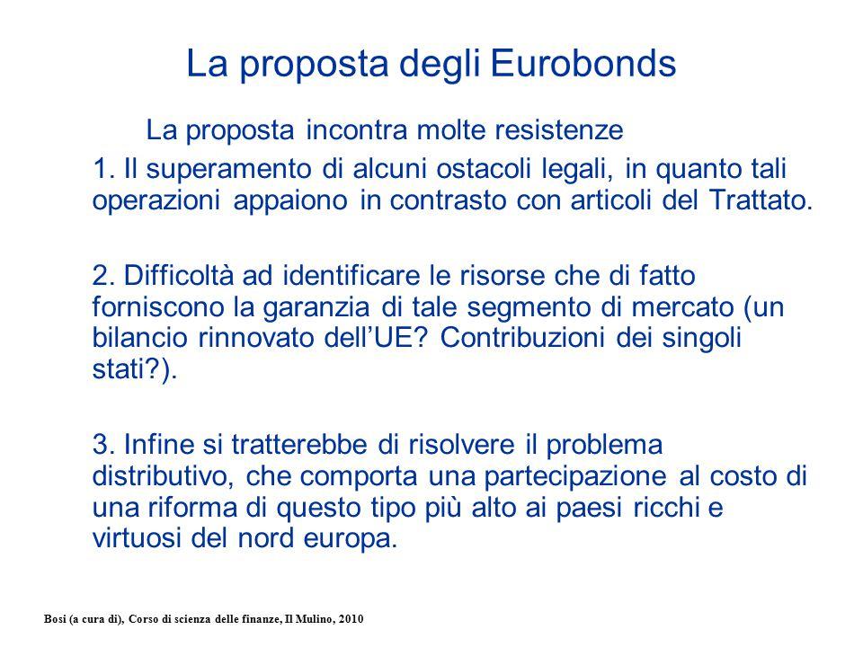 Bosi (a cura di), Corso di scienza delle finanze, Il Mulino, 2010 La proposta degli Eurobonds La proposta incontra molte resistenze 1. Il superamento
