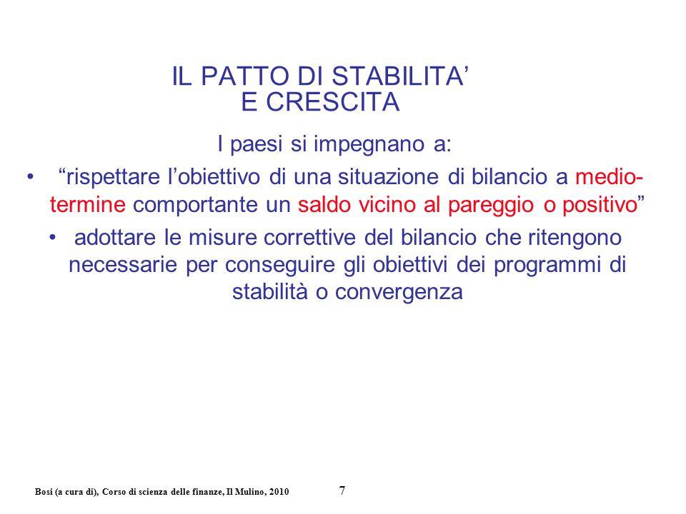 Bosi (a cura di), Corso di scienza delle finanze, Il Mulino, 2010 C'è coerenza tra il 60% e il 3%.