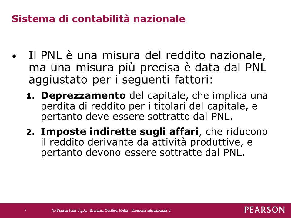 Sistema di contabilità nazionale Il PNL è una misura del reddito nazionale, ma una misura più precisa è data dal PNL aggiustato per i seguenti fattori