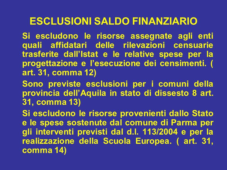 ESCLUSIONI SALDO FINANZIARIO Si escludono le risorse assegnate agli enti quali affidatari delle rilevazioni censuarie trasferite dall'Istat e le relative spese per la progettazione e l'esecuzione dei censimenti.