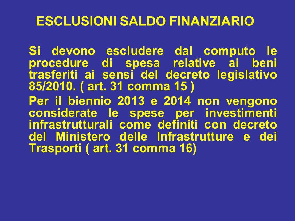 ESCLUSIONI SALDO FINANZIARIO Si devono escludere dal computo le procedure di spesa relative ai beni trasferiti ai sensi del decreto legislativo 85/2010.