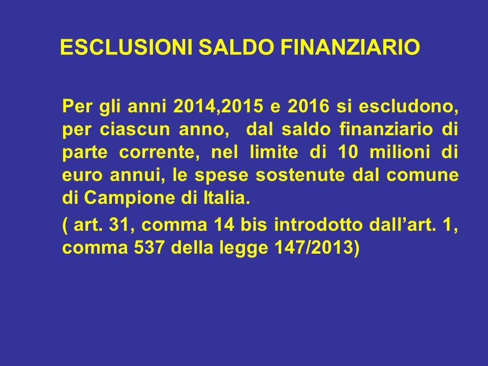 ESCLUSIONI SALDO FINANZIARIO Per gli anni 2014,2015 e 2016 si escludono, per ciascun anno, dal saldo finanziario di parte corrente, nel limite di 10 milioni di euro annui, le spese sostenute dal comune di Campione di Italia.