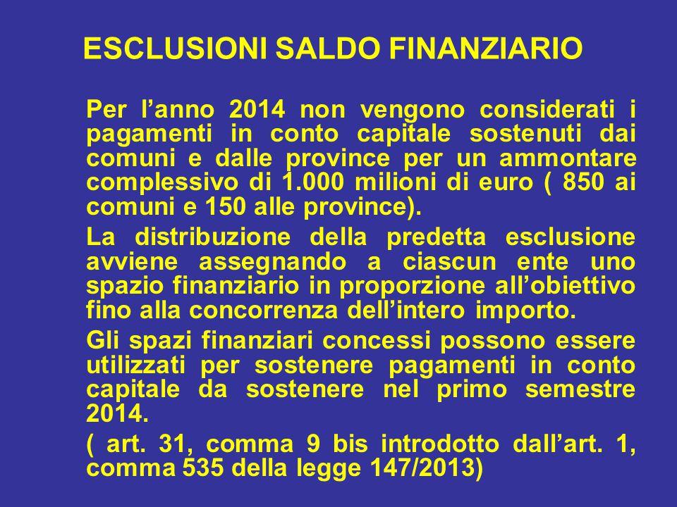 ESCLUSIONI SALDO FINANZIARIO Per l'anno 2014 non vengono considerati i pagamenti in conto capitale sostenuti dai comuni e dalle province per un ammontare complessivo di 1.000 milioni di euro ( 850 ai comuni e 150 alle province).