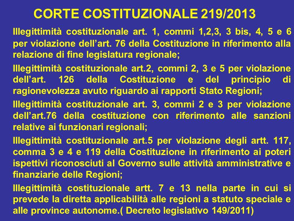 CORTE COSTITUZIONALE 219/2013 Illegittimità costituzionale art.