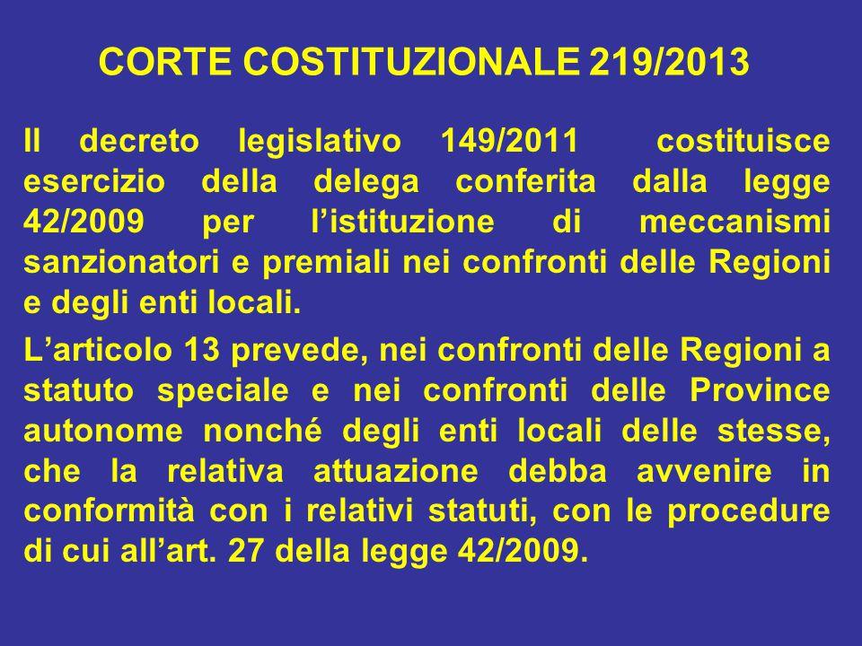CORTE COSTITUZIONALE 219/2013 Il decreto legislativo 149/2011 costituisce esercizio della delega conferita dalla legge 42/2009 per l'istituzione di meccanismi sanzionatori e premiali nei confronti delle Regioni e degli enti locali.