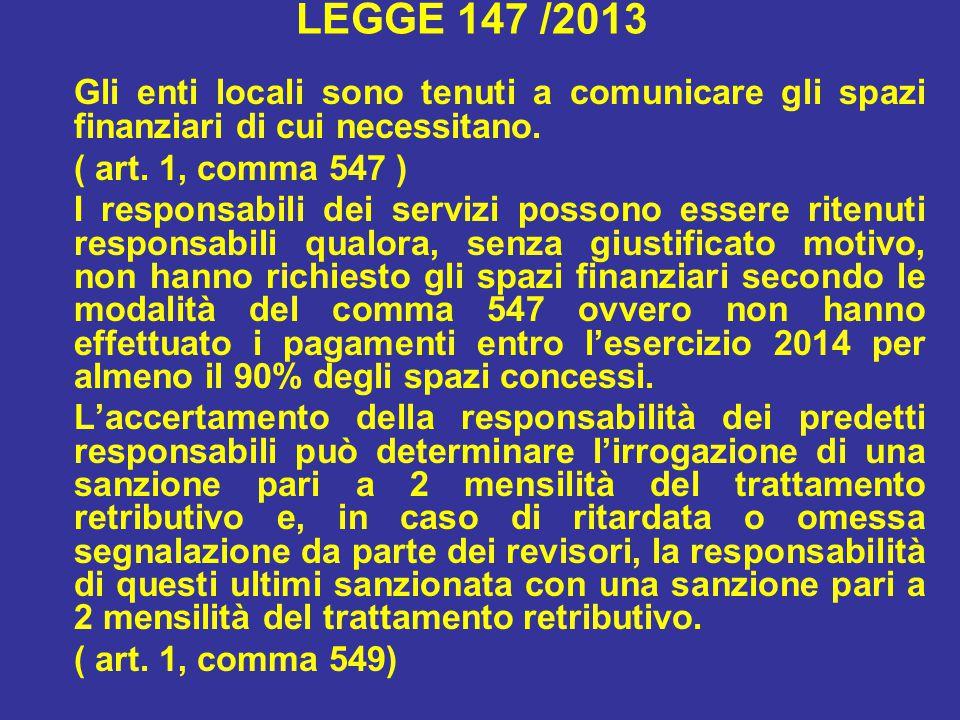 LEGGE 147 /2013 Gli enti locali sono tenuti a comunicare gli spazi finanziari di cui necessitano.