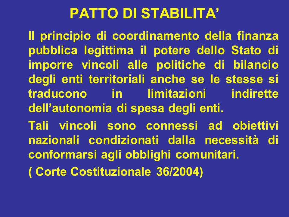 PATTO DI STABILITA' Il principio di coordinamento della finanza pubblica legittima il potere dello Stato di imporre vincoli alle politiche di bilancio degli enti territoriali anche se le stesse si traducono in limitazioni indirette dell'autonomia di spesa degli enti.