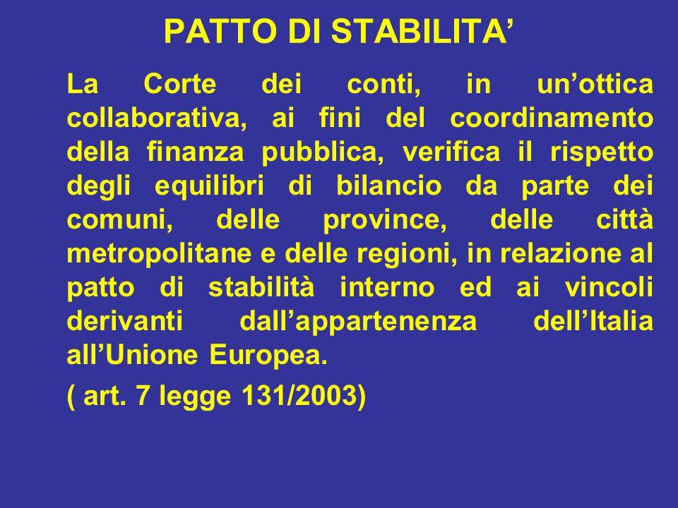 PATTO DI STABILITA' La Corte dei conti, in un'ottica collaborativa, ai fini del coordinamento della finanza pubblica, verifica il rispetto degli equilibri di bilancio da parte dei comuni, delle province, delle città metropolitane e delle regioni, in relazione al patto di stabilità interno ed ai vincoli derivanti dall'appartenenza dell'Italia all'Unione Europea.