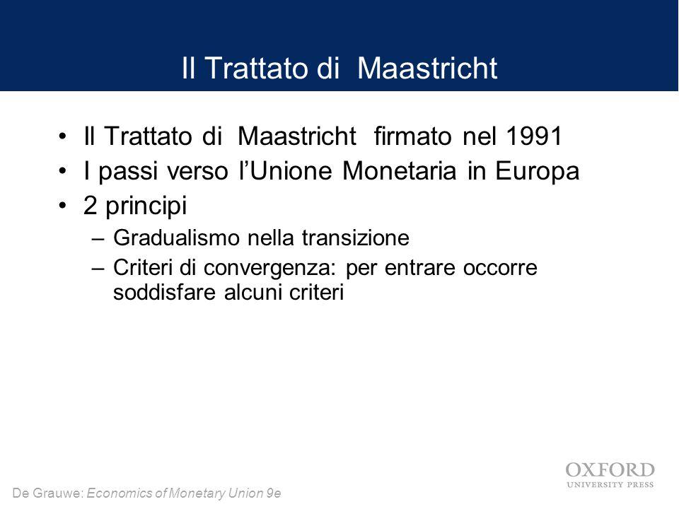 De Grauwe: Economics of Monetary Union 9e Il Trattato di Maastricht Il Trattato di Maastricht firmato nel 1991 I passi verso l'Unione Monetaria in Europa 2 principi –Gradualismo nella transizione –Criteri di convergenza: per entrare occorre soddisfare alcuni criteri