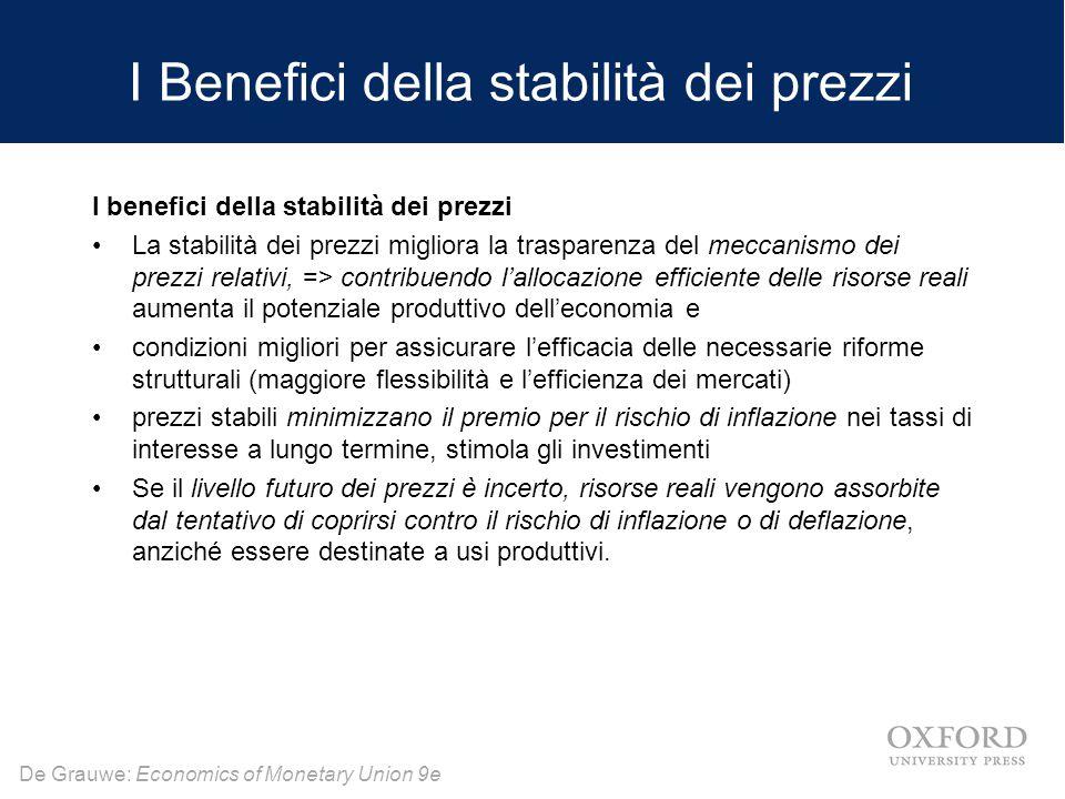 De Grauwe: Economics of Monetary Union 9e I Benefici della stabilità dei prezzi I benefici della stabilità dei prezzi La stabilità dei prezzi migliora la trasparenza del meccanismo dei prezzi relativi, => contribuendo l'allocazione efficiente delle risorse reali aumenta il potenziale produttivo dell'economia e condizioni migliori per assicurare l'efficacia delle necessarie riforme strutturali (maggiore flessibilità e l'efficienza dei mercati) prezzi stabili minimizzano il premio per il rischio di inflazione nei tassi di interesse a lungo termine, stimola gli investimenti Se il livello futuro dei prezzi è incerto, risorse reali vengono assorbite dal tentativo di coprirsi contro il rischio di inflazione o di deflazione, anziché essere destinate a usi produttivi.