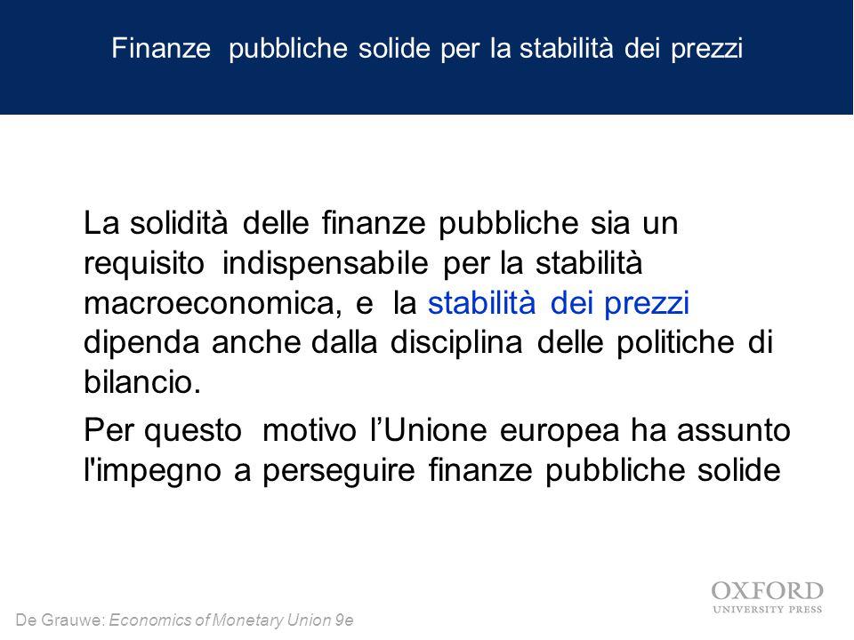 De Grauwe: Economics of Monetary Union 9e Finanze pubbliche solide per la stabilità dei prezzi La solidità delle finanze pubbliche sia un requisito indispensabile per la stabilità macroeconomica, e la stabilità dei prezzi dipenda anche dalla disciplina delle politiche di bilancio.