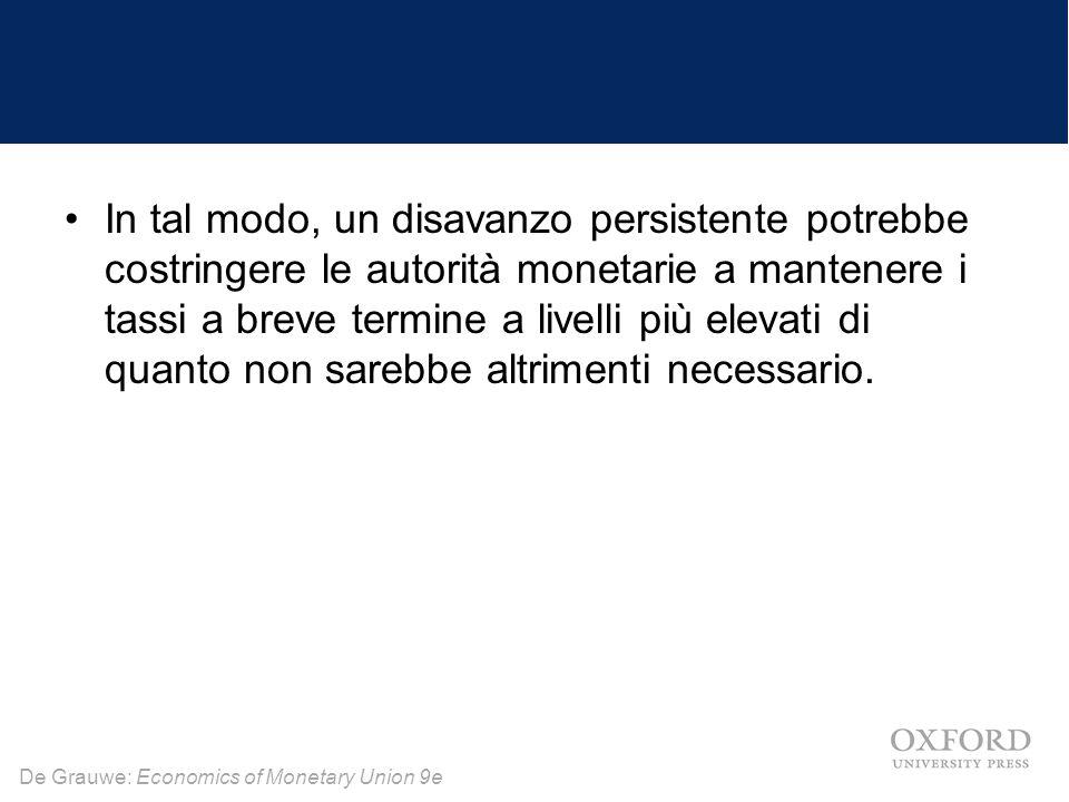 De Grauwe: Economics of Monetary Union 9e In tal modo, un disavanzo persistente potrebbe costringere le autorità monetarie a mantenere i tassi a breve termine a livelli più elevati di quanto non sarebbe altrimenti necessario.
