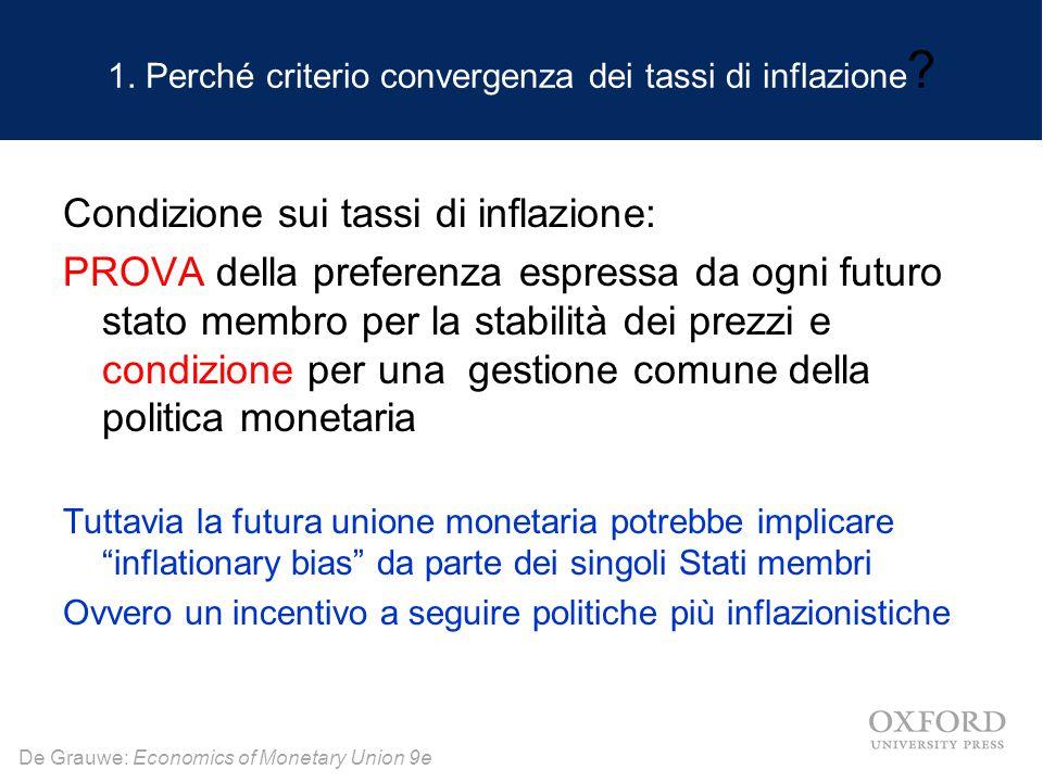 De Grauwe: Economics of Monetary Union 9e 1. Perché criterio convergenza dei tassi di inflazione .