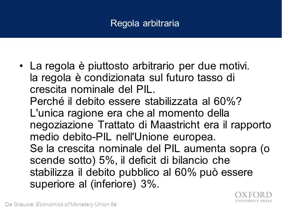De Grauwe: Economics of Monetary Union 9e Regola arbitraria La regola è piuttosto arbitrario per due motivi.