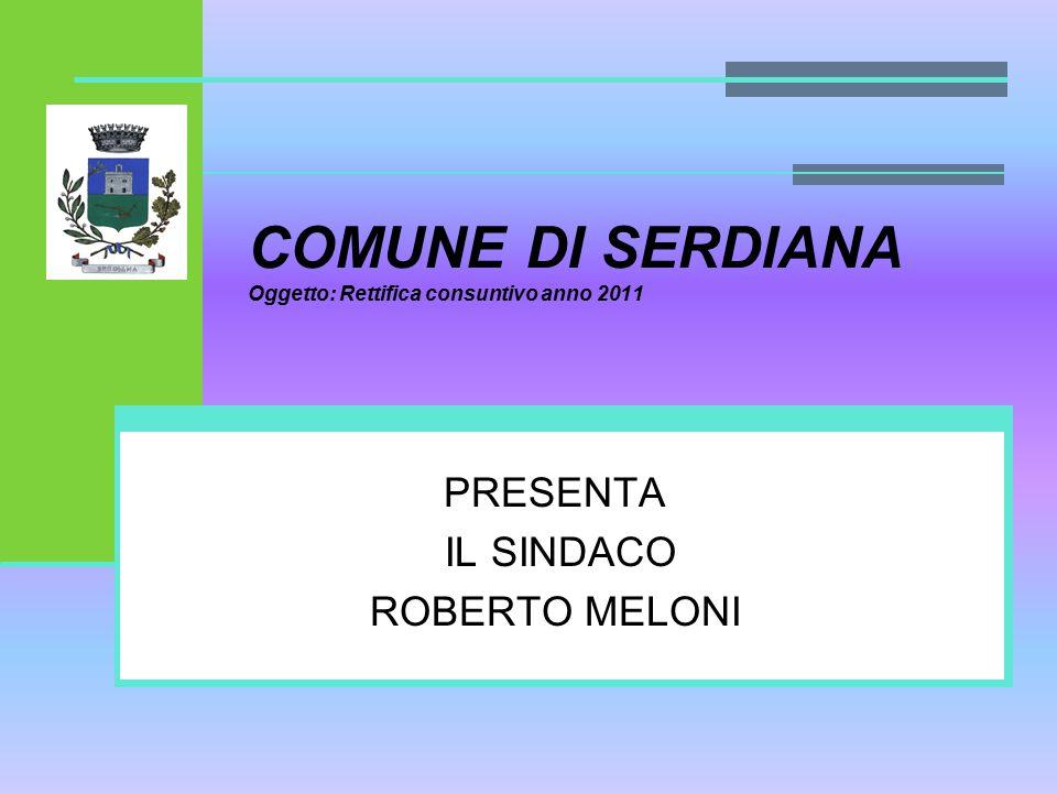 COMUNE DI SERDIANA Oggetto: Rettifica consuntivo anno 2011 PRESENTA IL SINDACO ROBERTO MELONI
