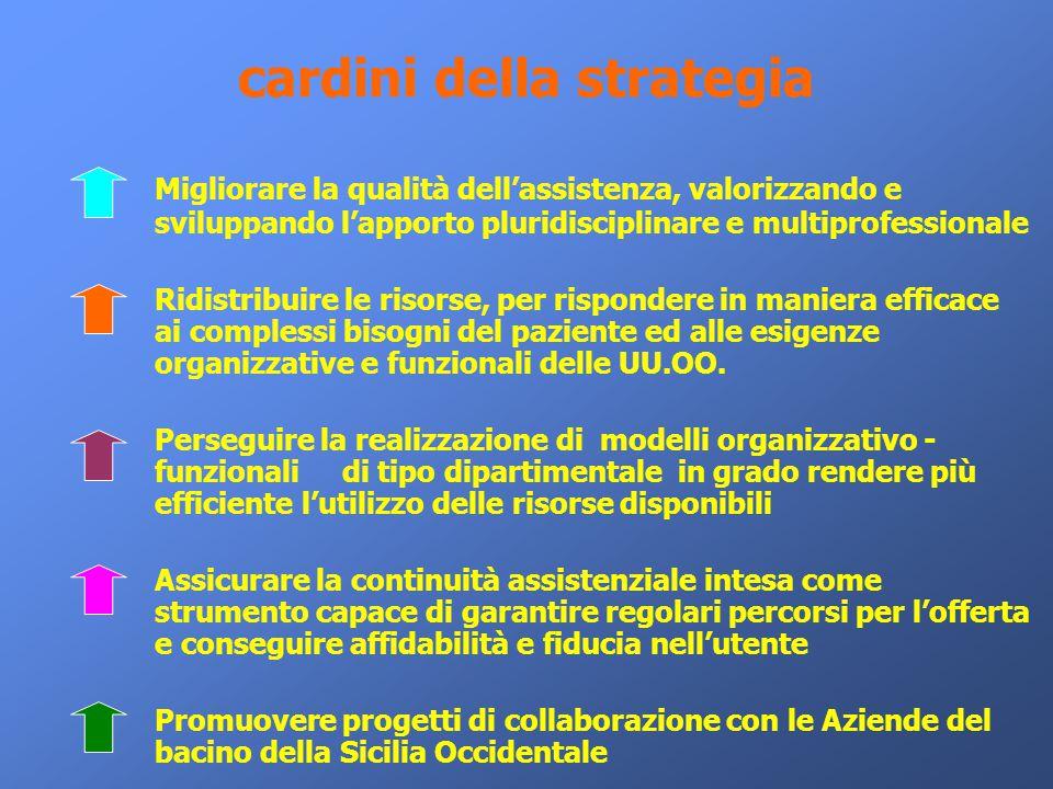 cardini della strategia Migliorare la qualità dell'assistenza, valorizzando e sviluppando l'apporto pluridisciplinare e multiprofessionale Ridistribui