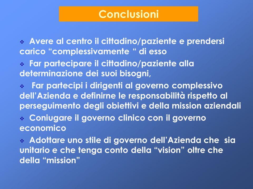 """Conclusioni   Avere al centro il cittadino/paziente e prendersi carico """"complessivamente """" di esso   Far partecipare il cittadino/paziente alla de"""