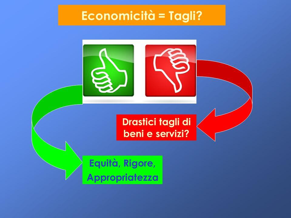 Economicità = Tagli? Drastici tagli di beni e servizi? Equità, Rigore, Appropriatezza