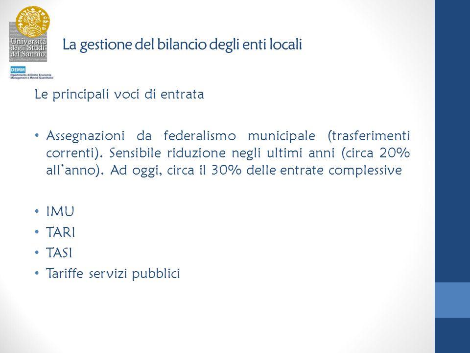 La gestione del bilancio degli enti locali Le principali voci di entrata Assegnazioni da federalismo municipale (trasferimenti correnti).