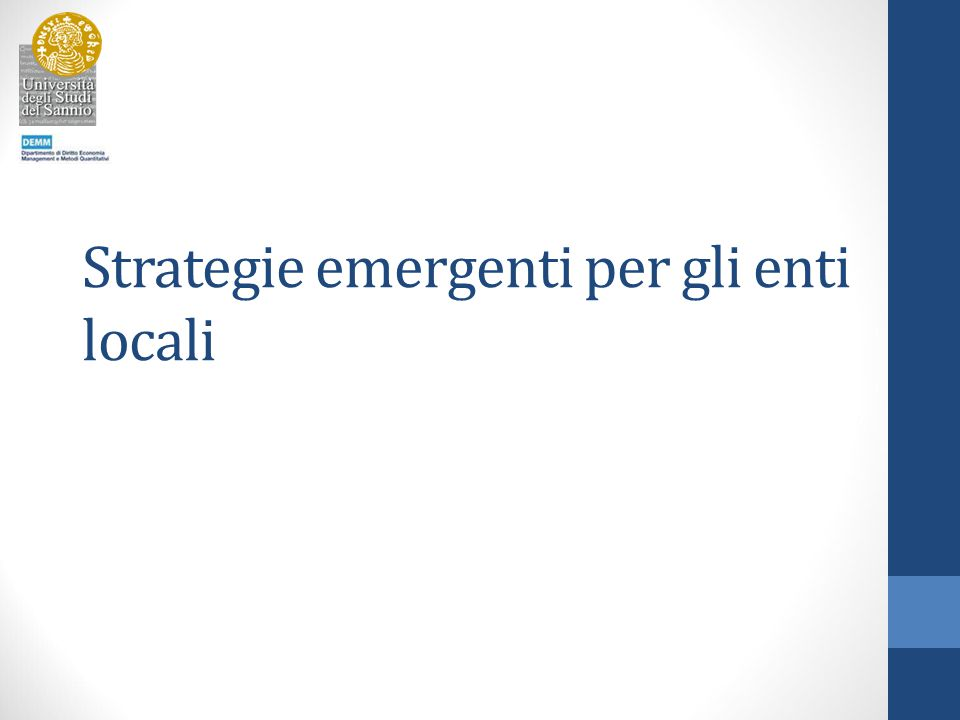 Strategie emergenti per gli enti locali