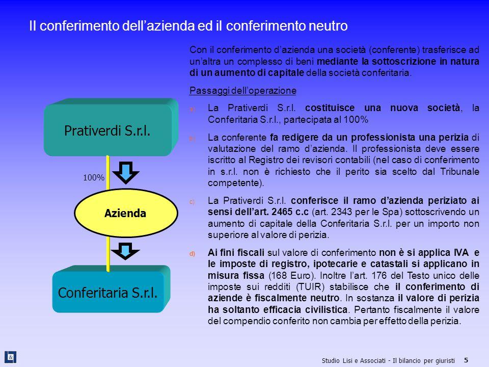 Studio Lisi e Associati - Il bilancio per giuristi 6 Il conferimento ed il conferimento neutro a) La Prativerdi S.r.l.