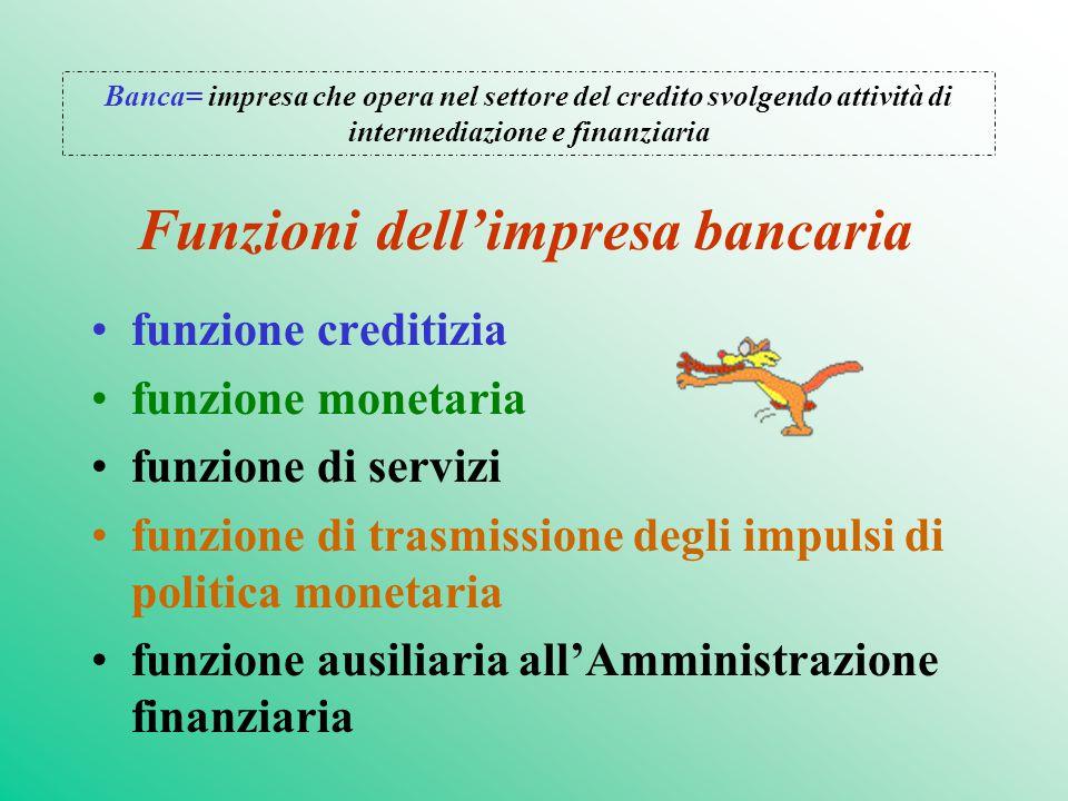 Funzioni dell'impresa bancaria funzione creditizia funzione monetaria funzione di servizi funzione di trasmissione degli impulsi di politica monetaria