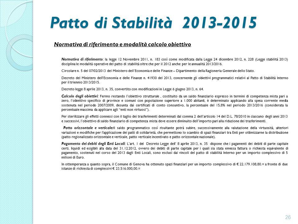 Patto di Stabilità 2013-2015 Normativa di riferimento e modalità calcolo obiettivo Normativa di riferimento: la legge 12 Novembre 2011, n.