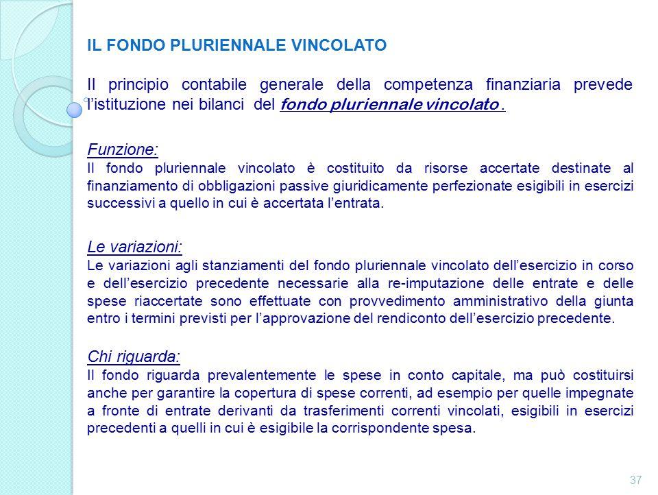 IL FONDO PLURIENNALE VINCOLATO Il principio contabile generale della competenza finanziaria prevede l'istituzione nei bilanci del fondo pluriennale vincolato.