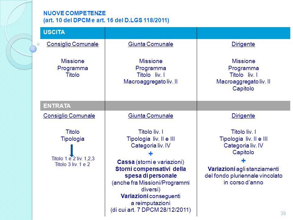 NUOVE COMPETENZE (art. 10 del DPCM e art.