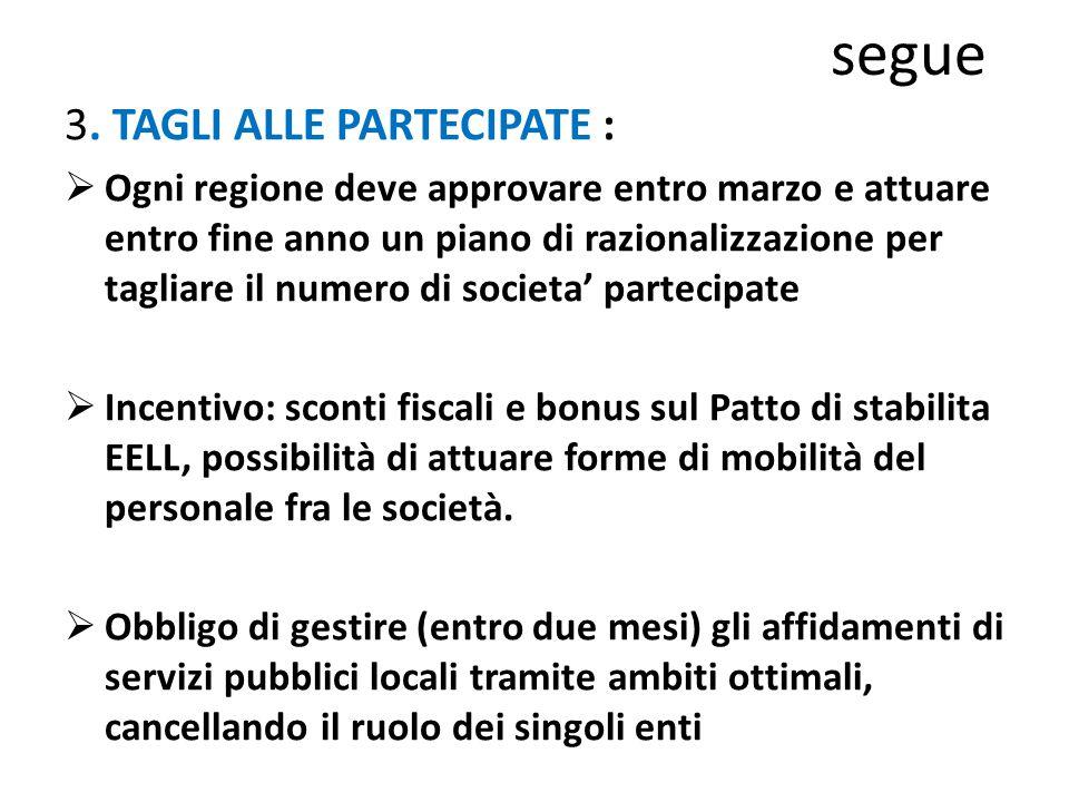 segue 3. TAGLI ALLE PARTECIPATE :  Ogni regione deve approvare entro marzo e attuare entro fine anno un piano di razionalizzazione per tagliare il nu