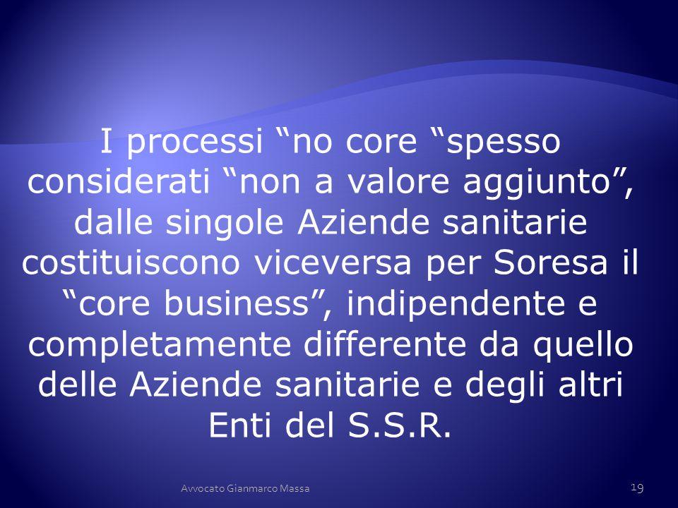 """I processi """"no core """"spesso considerati """"non a valore aggiunto"""", dalle singole Aziende sanitarie costituiscono viceversa per Soresa il """"core business"""""""