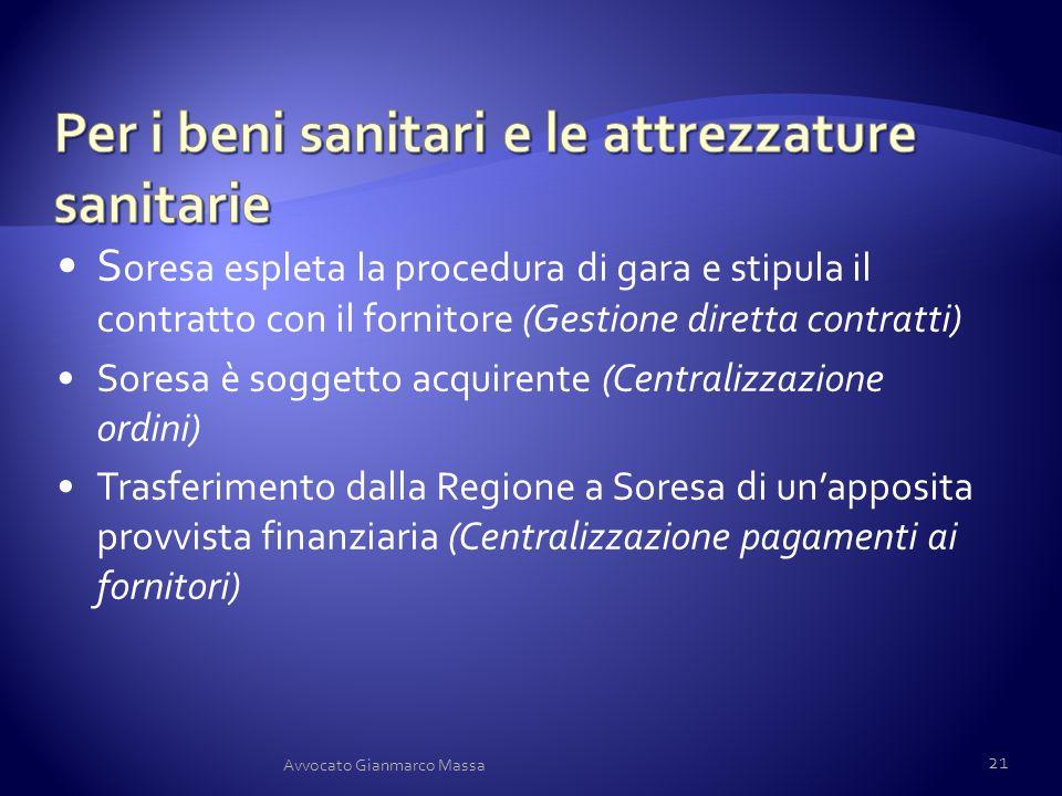 S oresa espleta la procedura di gara e stipula il contratto con il fornitore (Gestione diretta contratti) Soresa è soggetto acquirente (Centralizzazio