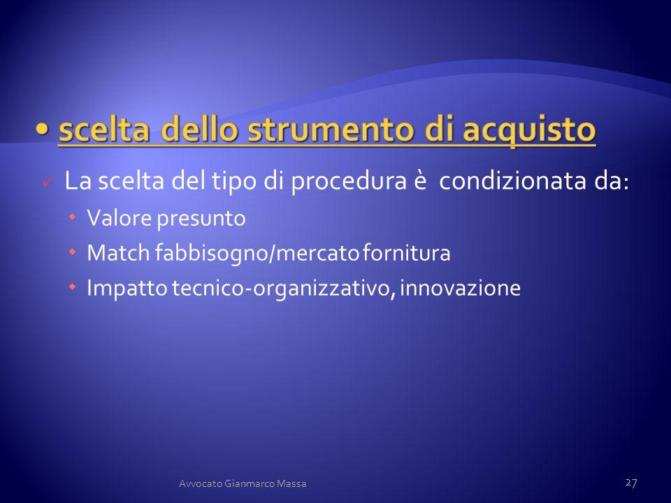 La scelta del tipo di procedura è condizionata da:  Valore presunto  Match fabbisogno/mercato fornitura  Impatto tecnico-organizzativo, innovazione