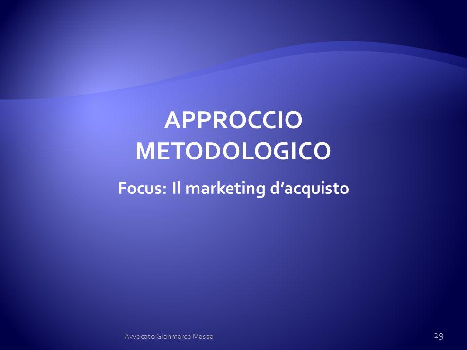 APPROCCIO METODOLOGICO Focus: Il marketing d'acquisto 29 Avvocato Gianmarco Massa