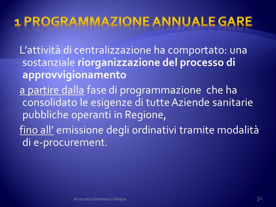 L'attività di centralizzazione ha comportato: una sostanziale riorganizzazione del processo di approvvigionamento a partire dalla fase di programmazio