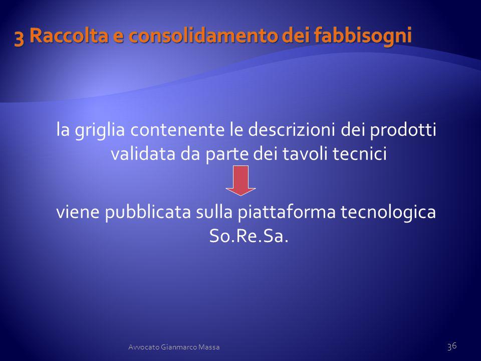 la griglia contenente le descrizioni dei prodotti validata da parte dei tavoli tecnici viene pubblicata sulla piattaforma tecnologica So.Re.Sa. 36 Avv